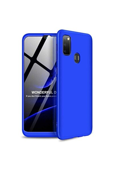 Samsung Nihcase Galaxy M30s Kılıf 360 Ays Hard Rubber Cover Mavi + Nano Screen Protector