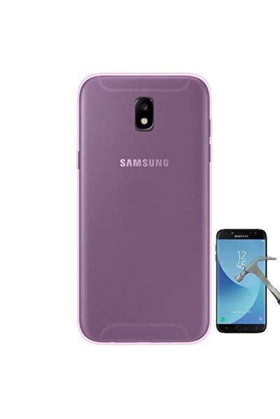 Samsung Nihcase J7 Pro Galaxy Soft Silicone Kılıf Pembe + Glass Screen Protector