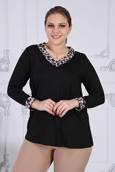 Gül Moda Kadın Leopar Yaka Kol Ucu Leopar Detaylı Uzun Kollu Bluz G051-2l