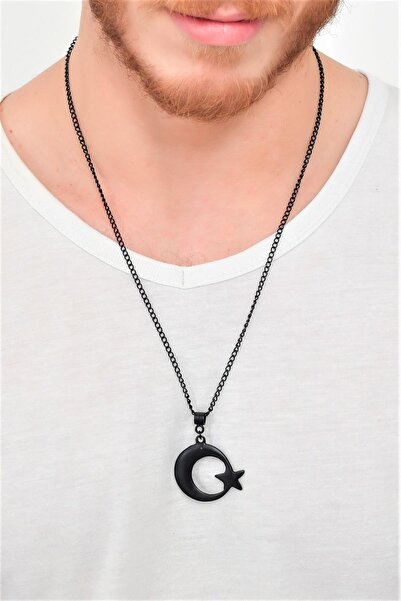 LABALABA Erkek Siyah Oksit Kaplama Ay&yıldız Simge Uçlu Kolye