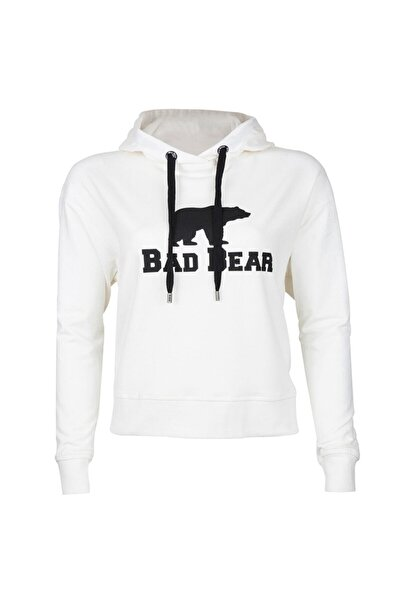 Bad Bear Kadın Crop Sweatshirt Beyaz