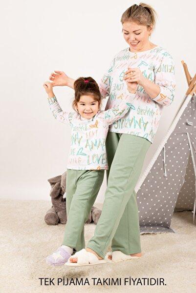 armonika Kadın Yeşil Anne Kız Model Amazing Yazılı Pijama Takımı ARM-21K001117