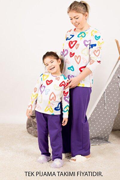 armonika Kadın Mor Anne Kız Model Kalp Desenli Pijama Takımı ARM-21K001114