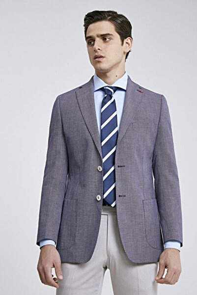 D'S Damat Erkek Mor Kareli Slim Fit Kumaş Ceket