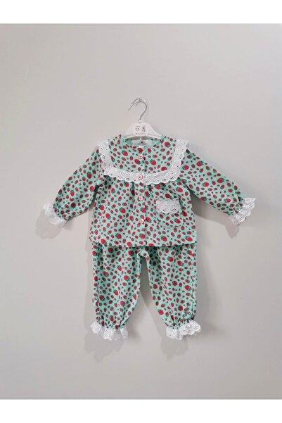 Coco Shoptr Fisto Detaylı Çilekli Bebek Pijama Takımı %100 Pamuk