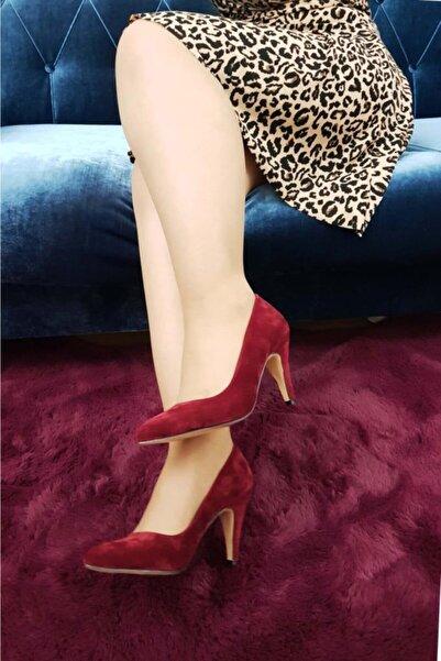 TREND Kadın Bordo Süet Topuklu Ayakkabı