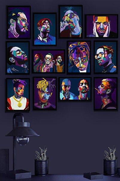 Tontilika Çerçeve Görünümlü Hiphop Rap Ünlü Temalı Mdf Tablo Seti (80x80 Cm) 12 Parça