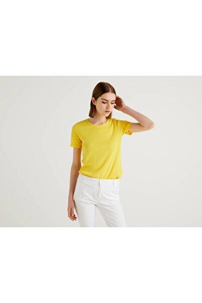 United Colors of Benetton Kadın Sarı Bisiklet Yaka Basic Tshirt