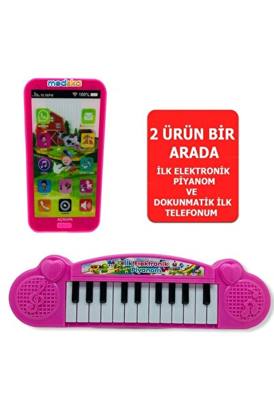 Medska Türkçe Müzikli Hayvan Sesli Dokunmatik Telefon Pembe Ve Piyano 22 Tuşlu Sesli Ilk Elektronik Piyano