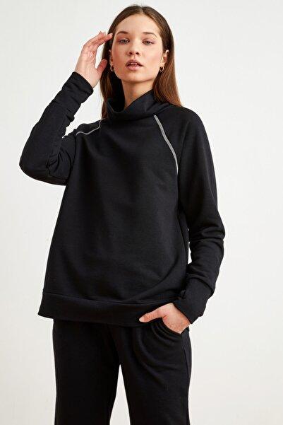 Love My Body Kadın Siyah Bato Yaka Sweatshirt