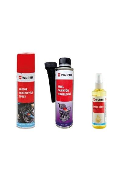 Würth Motor Temizleme 300 ml+ Dizel Yakıt Sistem Ve Enjektör Temizleyici 300 ml+araç Kokusu Vanilla 150 ml