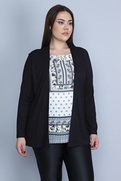 Şans Kadın Siyah İkili Görünümlü Tek Parça Bluz 65N23082