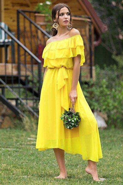 Elbise Delisi Kadın Sarı Madonna Fırfır Yaka Büyük Beden Şifon Elbise