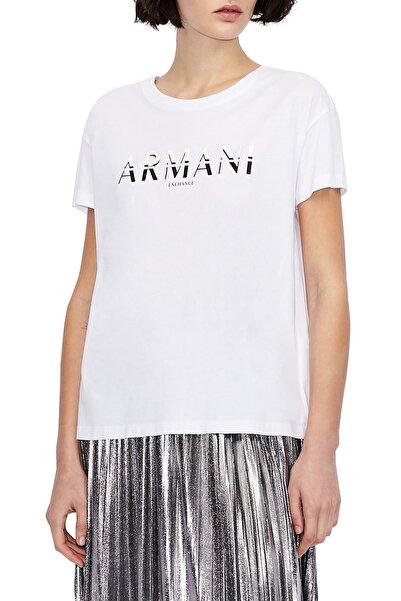 Armani Exchange Baskılı % 100 Pamuklu Kadın Beyaz T-Shirt