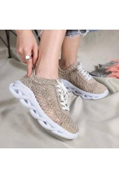Kadın Bej Dantelli Bağcıklı Yumuşak Ortopedik Taban Sneaker
