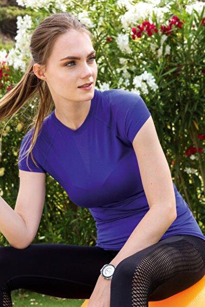 Yeni İnci Kadın Saks Mavisi Çizgi Detaylı Sporcu T-shirt