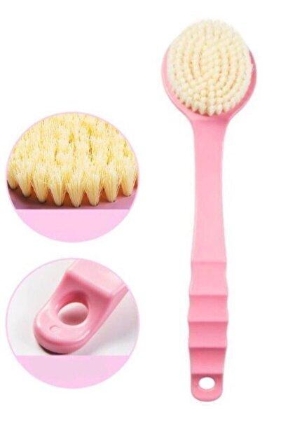 TİNEKE Uzun Saplı Duş Fırçası Sırt Fırçası Masaj Cilt Peeling Spa Sırt Kese Banyo Fırçası Pembe 35 Cm