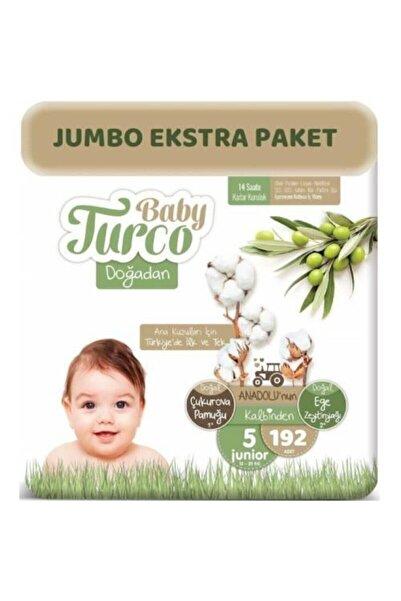 Baby Turco Doğadan Bebek Bezi 5 Beden - Numara Junior 192 Adet Jumbo Ekstra Paket 12 - 25 Kg