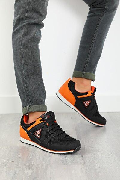 julude Erkek Siyah Orange Bağcıklı Spor Ayakkabı