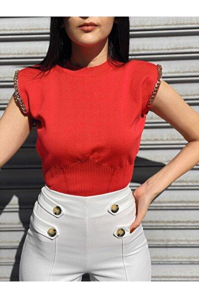 Ekocbutik Kırmızı  Vatkalı Omuz Zincirli Bluz