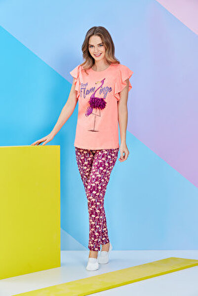 Oranj Kısa Kollu Bayan Pijama Takımı - 8099