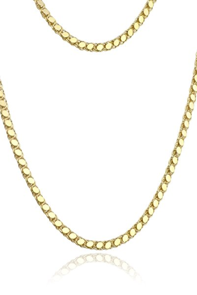 BY BARUN SİLVER Kadın Pullu Gümüş Kolye - Sarı Altın