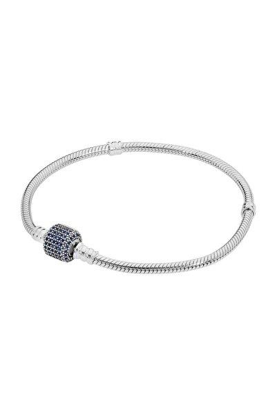My Story Mavi Taşlı Kilit Pandora Uyumlu Gümüş Bileklik