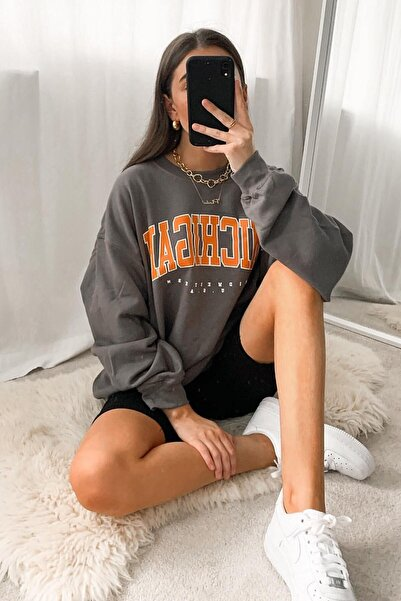 Madmext Mad Girls Antrasit Sweatshirt Mg785