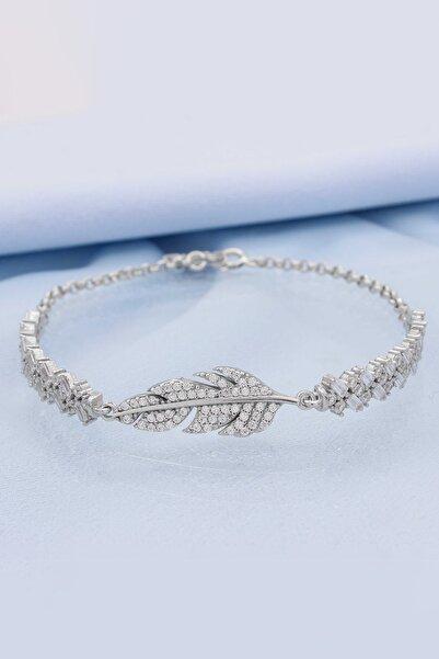 Else Silver Kadın 925 Ayar Gümüş Kuş Tüyü Baget Taşlı Bileklik
