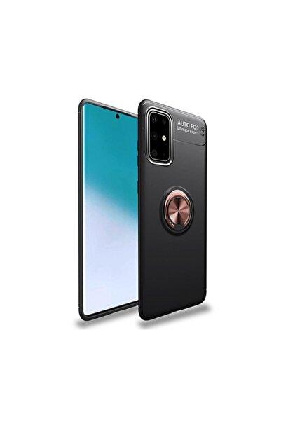 Canpay Galaxy A71 Kılıf Yüzüklü Standlı Mıknatıslı+ekran Koruyucu Nano Cam