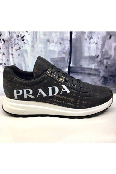 Prada Yanı Logolu Erkek Siyah Sneaker