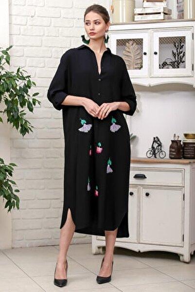 Kadın Siyah Karanfil Nakışlı Sırt Detaylı Düğmeli Salaş Gömlek Elbise M10160000EL95923