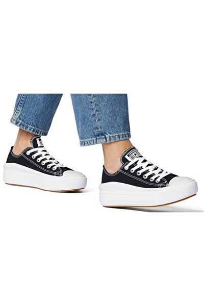 converse Kadın Siyah All Star  Beyaz Kalın Yüksek Taban Ayakkabı 570256c V2