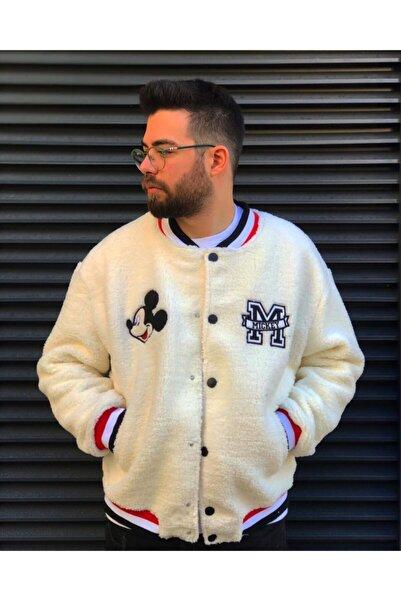 Ossyhomer Erkek Bej Mickey Mouse Peluş Ceket
