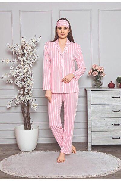 Manolya Kadın Pembe Çizgili Düğmeli Pijama Takımı