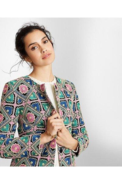 BROOKS BROTHERS Kadın Çok Renkli Çiçek Işlemeli Uzun Ceket