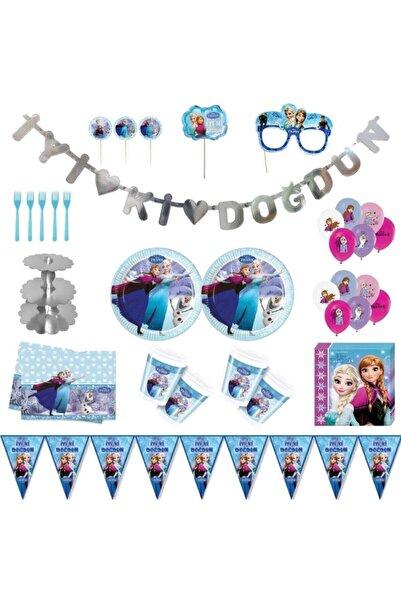 Frozen Elsa Frozen Karlar Ülkesi Elsa Lüks Doğum Günü Parti Malzemeleri Seti Süs 16 Kişilik