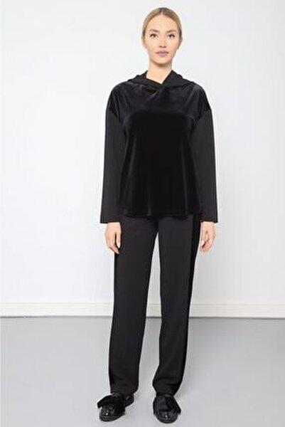 Kadın Siyah Bel Lastik Detaylı Kadife Pantolon