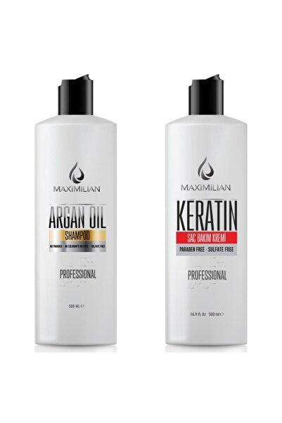 Maximilian Glutensiz Argan Yağı Ve Keratin , Argan Yağı Şampuan 500 Ml Ve Keratin Saç Kremi 500 Ml