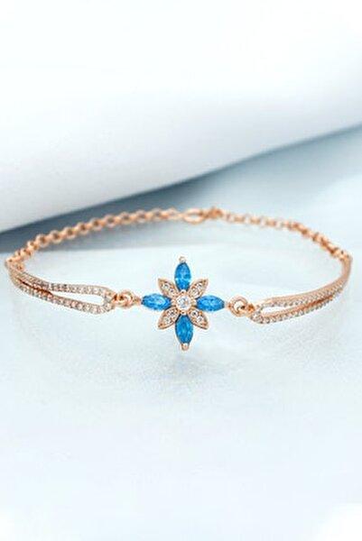 Kadın Rose Taşlı Umut Çiçeği Kelepçe Modeli Gümüş Bileklik