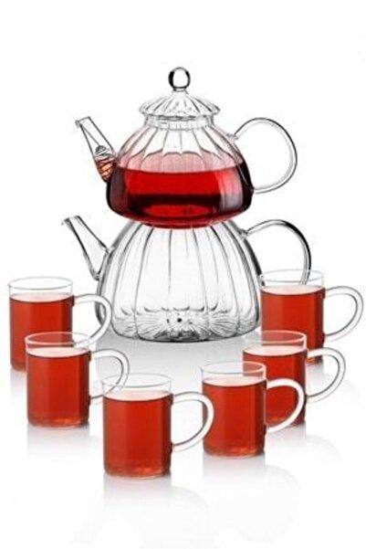 Paçi Borasilikat Cam Çaydanlık ve 6 Adet Kupa Bardak Takımı