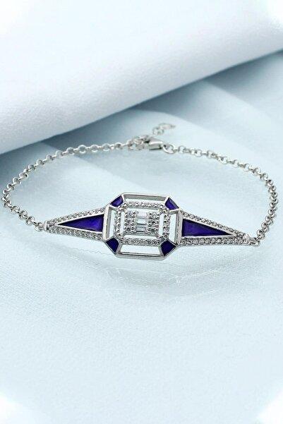 Else Silver Kadın Mavi Mineli Zincirli Gümüş Bileklik