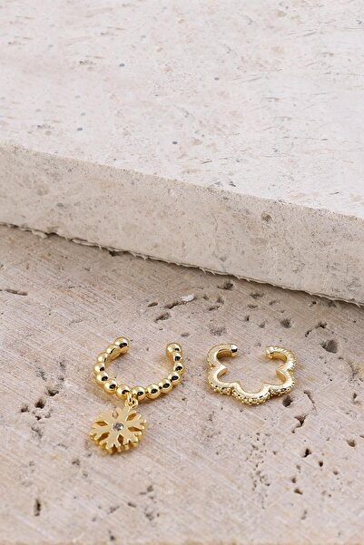 New Obsessions Kadın Altın Kartanesi Kıkırdak Küpe Set