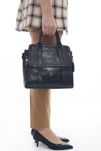 Fume London Siyah Kadın Çok Cepli Deri El Ve Omuz çantası
