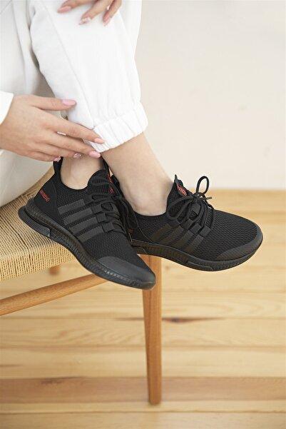 STRASWANS Sprint Kadın Streç Triko Spor Ayakkabı Siyah
