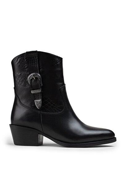 Deery Kadın  Hakiki Deri Siyah Bot