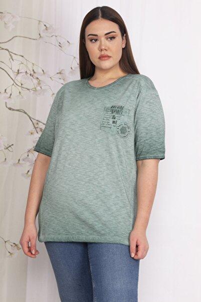 Şans Kadın Yeşil Organik Pamuk Tişört 65N22335