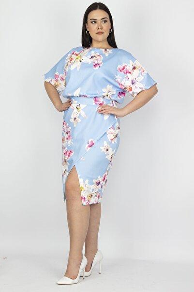 Şans Kadın Mavi Yarasa Kol Bel Detaylı Etek Kısmı Anvelop Elbise 65N22248
