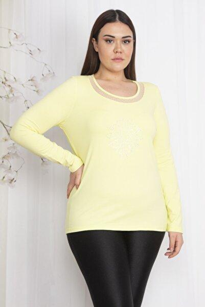 Şans Kadın Sarı Yakası Tül Önü Taş Detaylı Bluz 65N22302