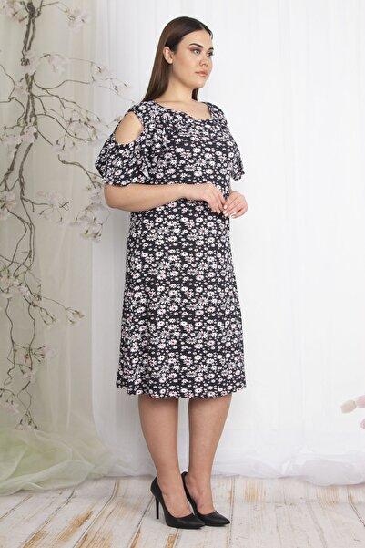 Şans Kadın Renkli Omuz Dekolteli Çiçek Desenli Elbise 65N22386